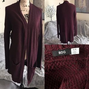 BDG UO knit sweater open cardigan duster red black